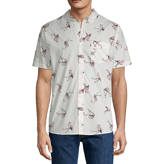 Levi's Mens Short Sleeve Animal Button-Down Shirt
