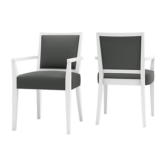 O'Neil White Frame Dining Arm Chair 2-Pack