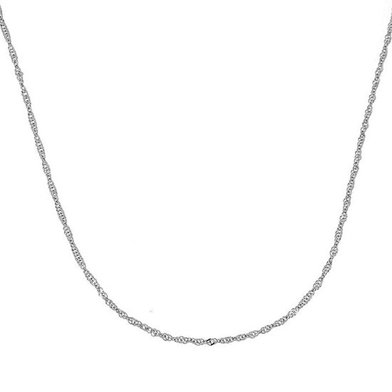 """Made in Italy 14K White Gold 20-24"""" Singapore Chain Necklace"""