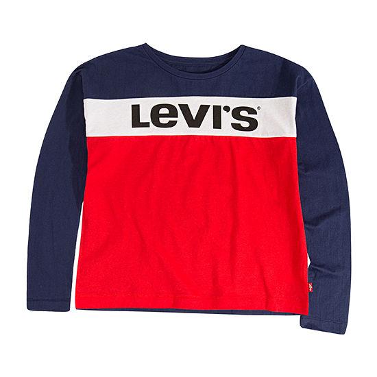 Levi's Girls Round Neck Long Sleeve Graphic T-Shirt - Big Kid