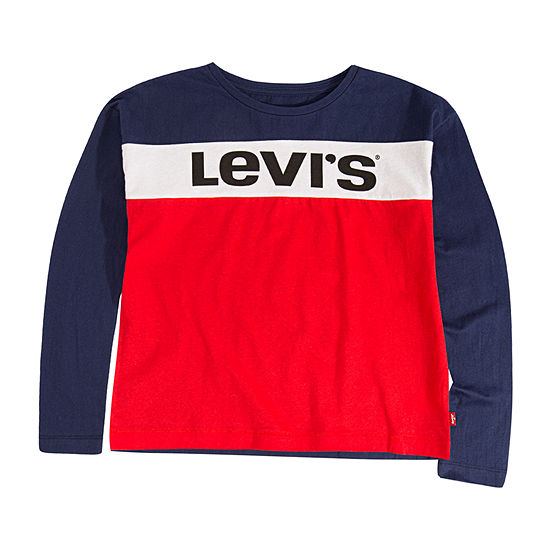 Levi's Girls Round Neck Long Sleeve Graphic T-Shirt - Preschool