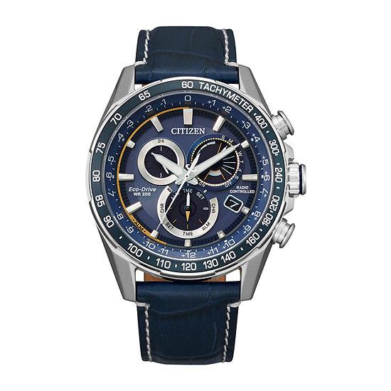 Citizen Mens Chronograph Blue Leather Strap Watch-Cb5918-02l