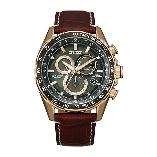 Citizen Mens Chronograph Brown Leather Strap Watch-Cb5919-00x