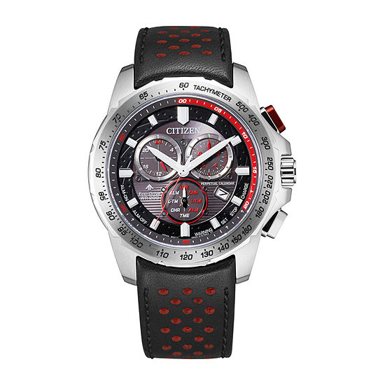Citizen Mens Chronograph Black Leather Strap Watch-Bl5570-01e