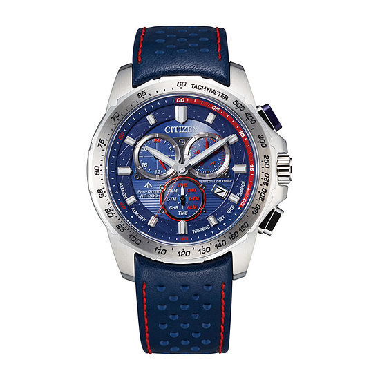 Citizen Mens Chronograph Blue Leather Strap Watch-Bl5571-09l