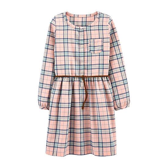 Carter's Little & Big Girls Long Sleeve Puffed Sleeve Shirt Dress