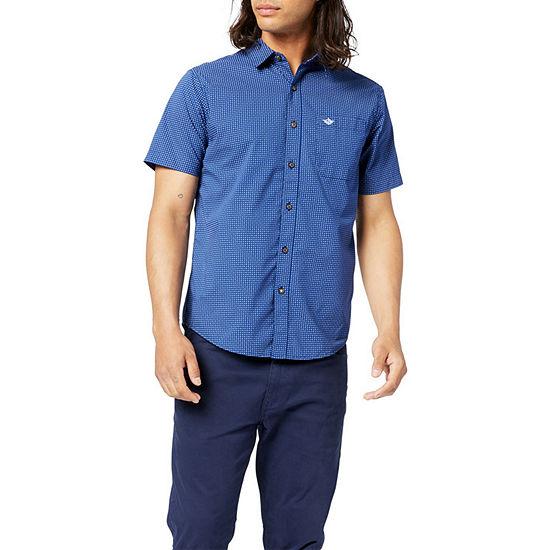 Dockers Washed Poplin Mens Short Sleeve Dots Button-Down Shirt
