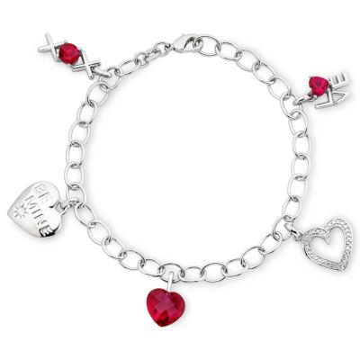 Lead Glass-Filled Red Ruby Heart Charm Bracelet