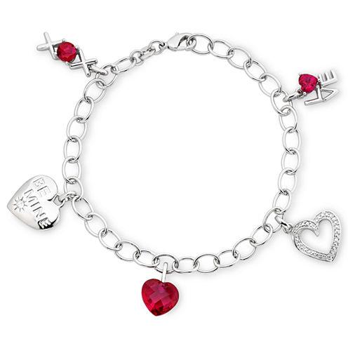 Lab-Created Ruby & Diamond-Accent Heart Charm Bracelet