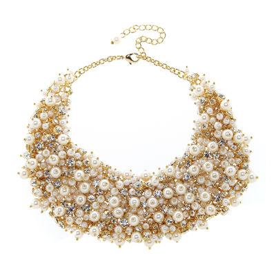 Natasha Crystal and Simulated Pearl Necklace