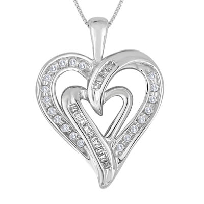 1/5 CT. T.W. Diamond 10K White Gold Double Heart Pendant Necklace