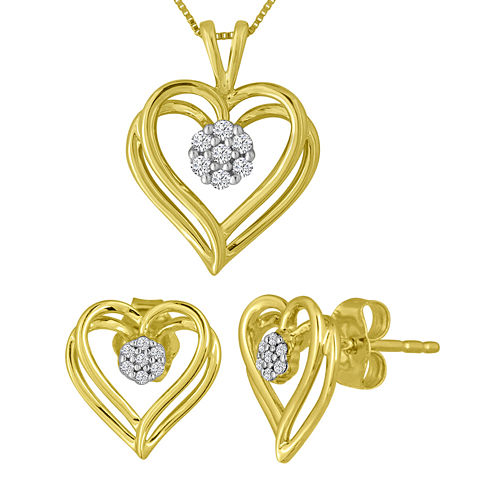1/10 CT. T.W. Diamond 10K Yellow Gold Earring and Necklace Boxed Set