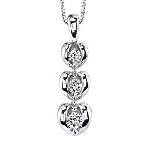 Sirena® 1/8 CT. T.W. Diamond 14K White Gold Heart Pendant Necklace