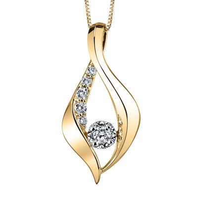 Sirena™ 1/4 CT. T.W. Diamond 10K Yellow Gold Pendant Necklace