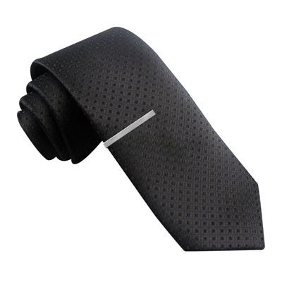 JF J. Ferrar® Textured Diamond Skinny Tie and Tie Bar Set