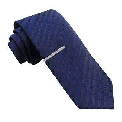 JF J. Ferrar® Tonal Textured Stripe Skinny Tie and Tie Bar Set