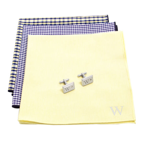Personalized Gingham Handkerchief Set with Zircon Jewel Cufflinks