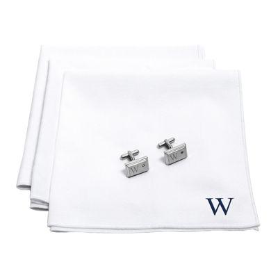 Personalized White Handkerchief Set with Zircon Jewel Cufflinks