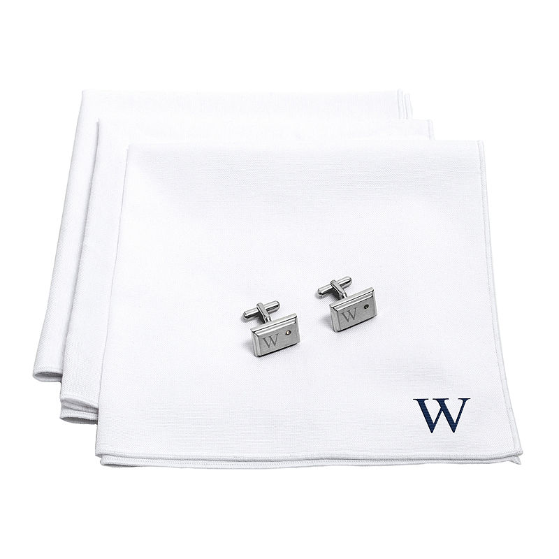 Personalized White Handkerchief Set with Zircon Jewel Cufflinks