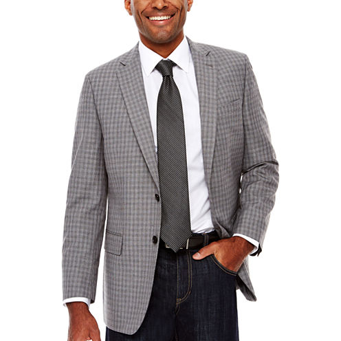Claiborne Linen-Look Check Sport Coat Classic Fit