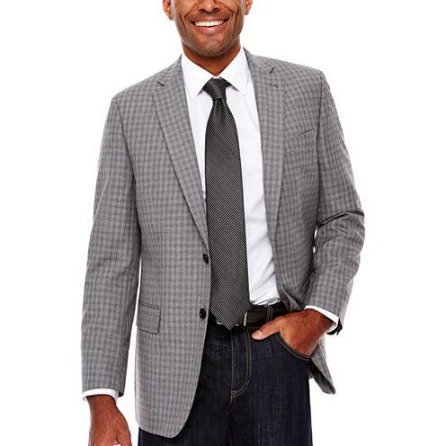 Claiborne Linen-Look Check Sport Coat Classic Fit