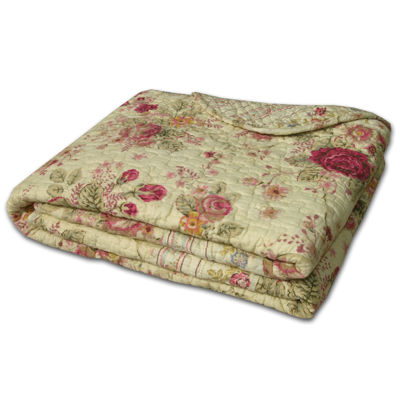 Greenland Home Fashions Antique Rose Quilted Cotton Throw