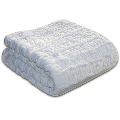 Greenland Home Fashions Ruffled White Quilted Cotton Throw