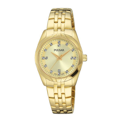 Pulsar® Ladies Night Out Womens Crystal Accent Gold-Tone Bracelet Watch