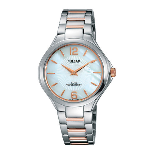 Pulsar® Ladies Night Out Womens Rose Gold Two-Tone Bracelet Watch
