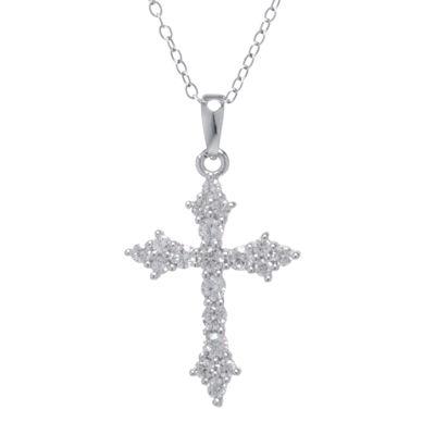 Silver Treasures™ Cubic Zirconia Sterling Silver Cross Pendant Necklace