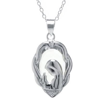 Silver Treasures™ Cubic Zirconia Sterling Silver Mary Pendant Necklace