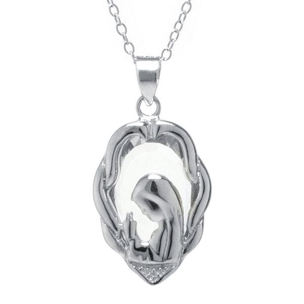 SILVER TREASURES Silver Treasures Cubic Zirconia Sterling Silver Mary Pendant Necklace 7cTWQ