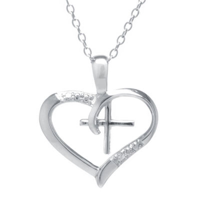 Silver Treasures™ Cubic Zirconia Sterling Silver Cross Heart Pendant Necklace