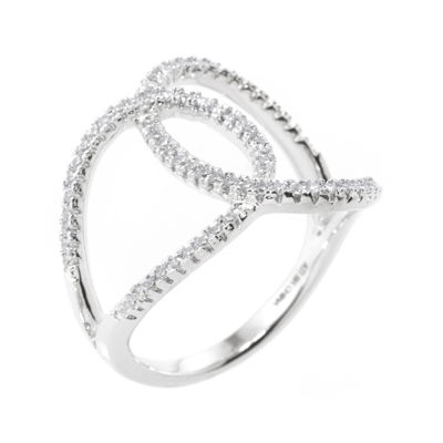 Silver Treasures™ Cubic Zirconia Sterling Silver Overlapping Circles Ring