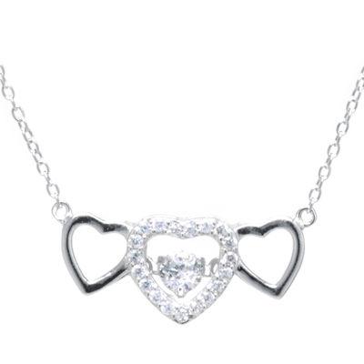 Silver Treasures™ Cubic Zirconia Sterling Silver Triple Heart Pendant Necklace