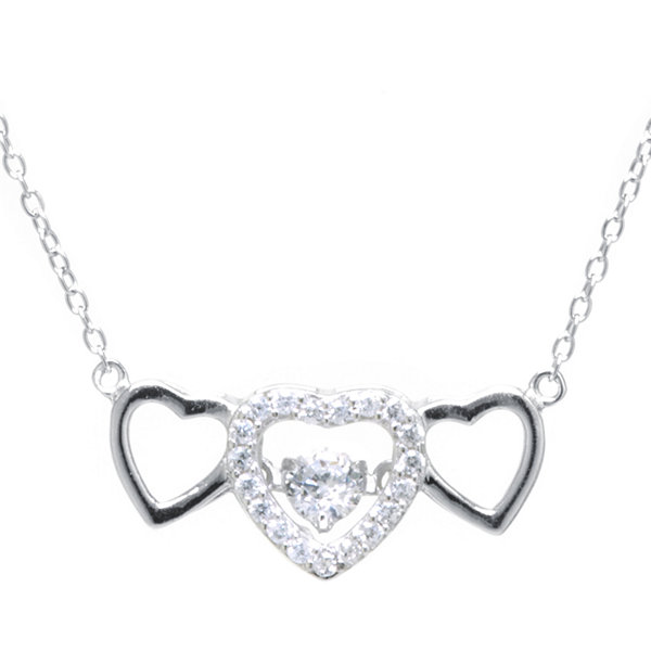 Silver treasures cubic zirconia sterling silver triple heart pendant silver treasures cubic zirconia sterling silver triple heart pendant necklace aloadofball Images