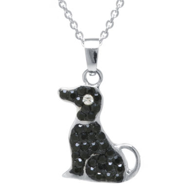 Sterling Silver-Plated Brass Black Crystal Dog Pendant Necklace