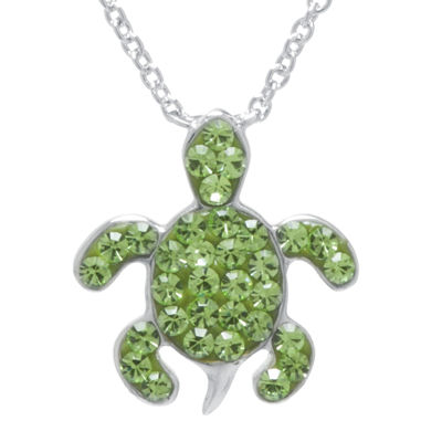 Silver Plated Green Crystal Turtle Pendant Necklace