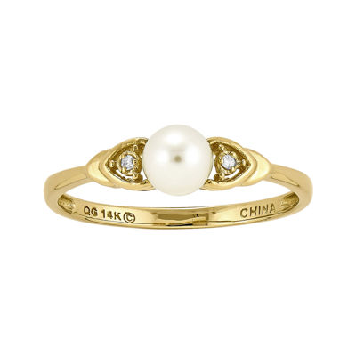 Cultured Freshwater Pearl and Diamond-Accent 14K Yellow Gold Ring