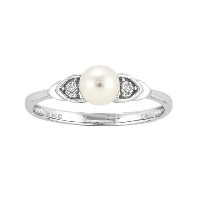 Cultured Freshwater Pearl and Diamond-Accent 14K White Gold Ring