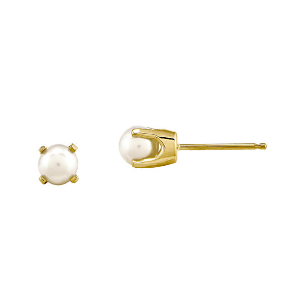 4mm Cultured Freshwater Pearl 14K Yellow Gold Stud Earrings