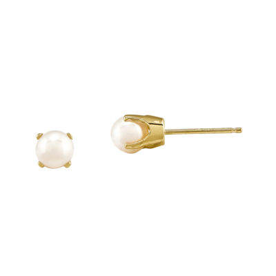 5mm Cultured Freshwater Pearl 14K Yellow Gold Stud Earrings