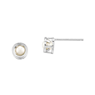 Cultured Freshwater Pearl 14K White Gold Bezel Stud Earrings
