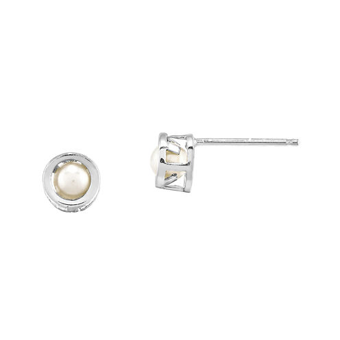 Cultured Freshwater Pearl 14K White Gold Bezel Stud Earrings