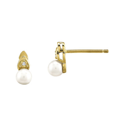 Cultured Freshwater Pearl and Diamond-Accent 14K Yellow Gold Earrings