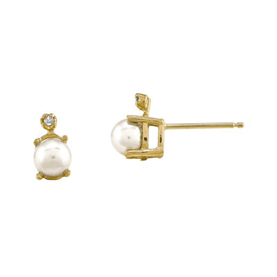 Cultured Freshwater Pearl and Diamond-Accent 14K Yellow Gold Stud Earrings