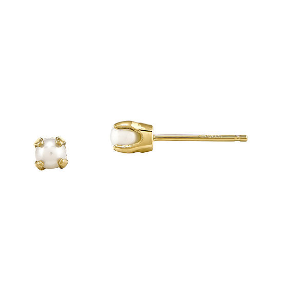 3mm Cultured Freshwater Pearl 14k Yellow Gold Stud Earrings