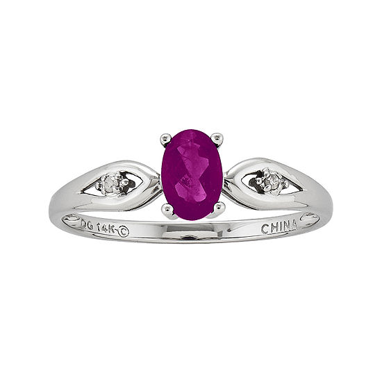 Genuine Ruby And Diamond Accent 14k White Gold Ring