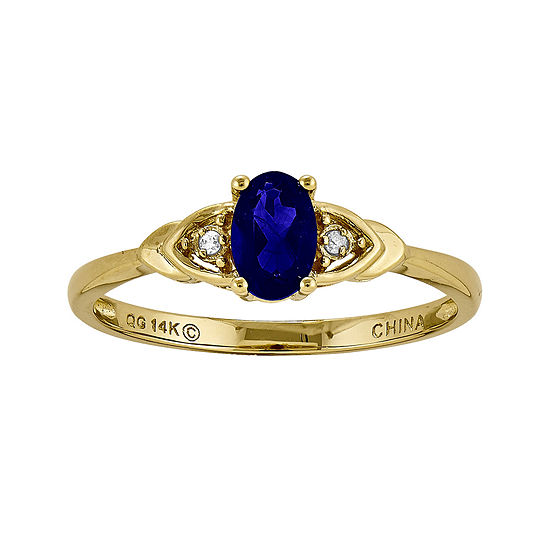 Genuine Blue Sapphire and Diamond-Accent 14K Yellow Gold Ring