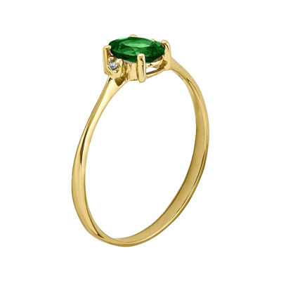 Genuine Emerald Diamond-Accent 14K Yellow Gold Ring